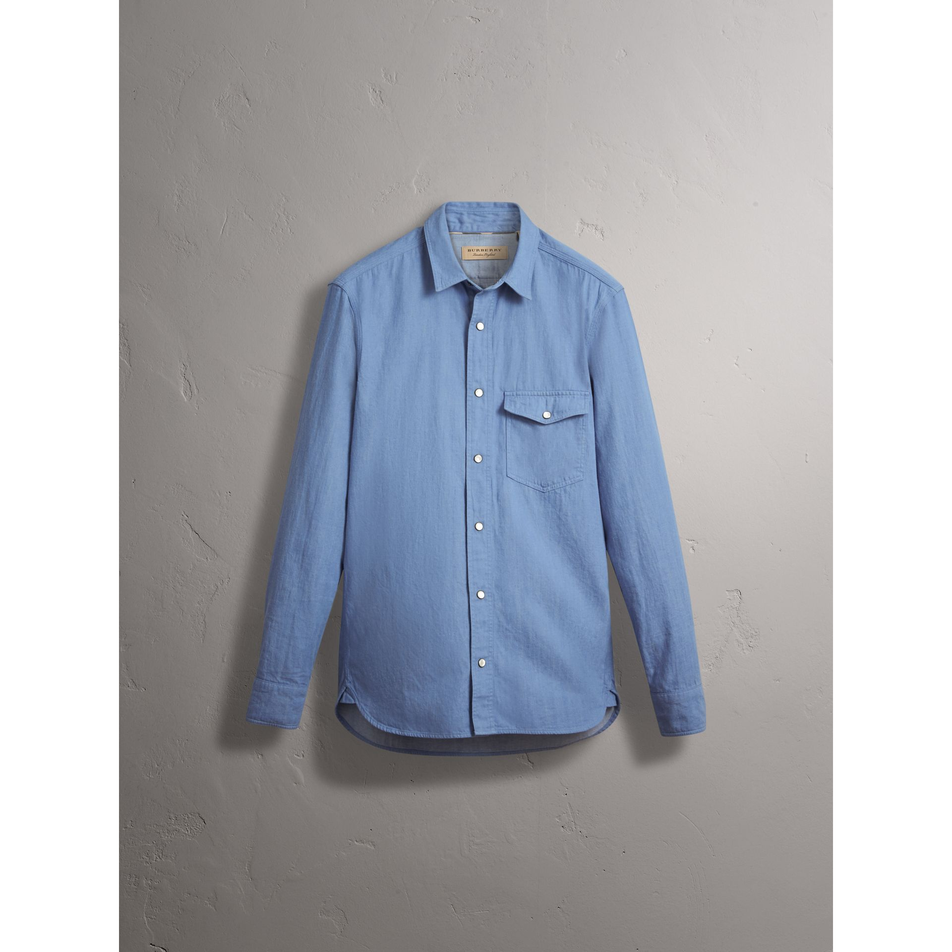 Japanese Denim Shirt in Light Blue - Men | Burberry - gallery image 4