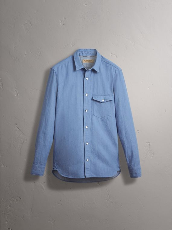 Japanese Denim Shirt in Light Blue - Men | Burberry - cell image 3