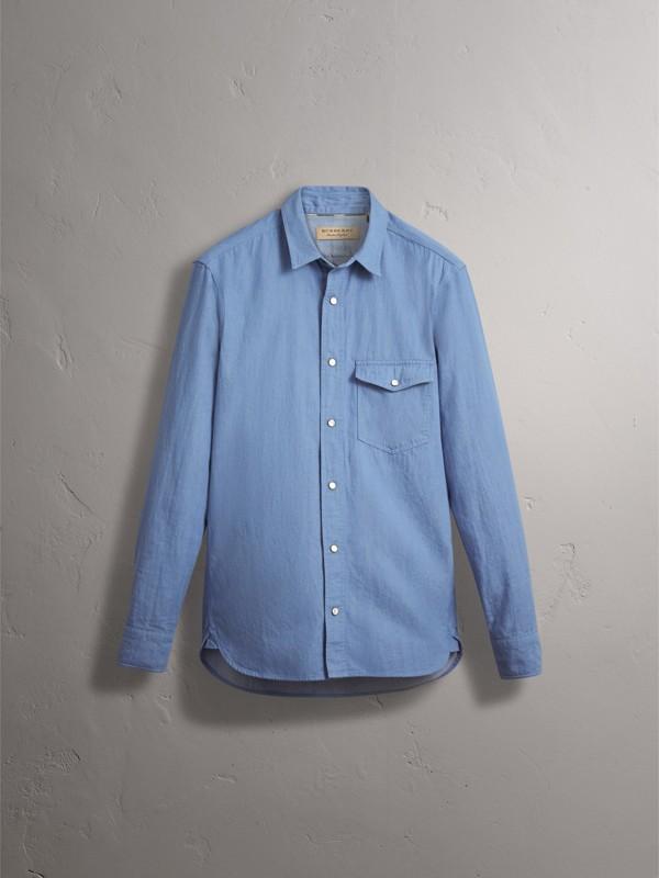 Japanese Denim Shirt in Light Blue - Men | Burberry - cell image 3