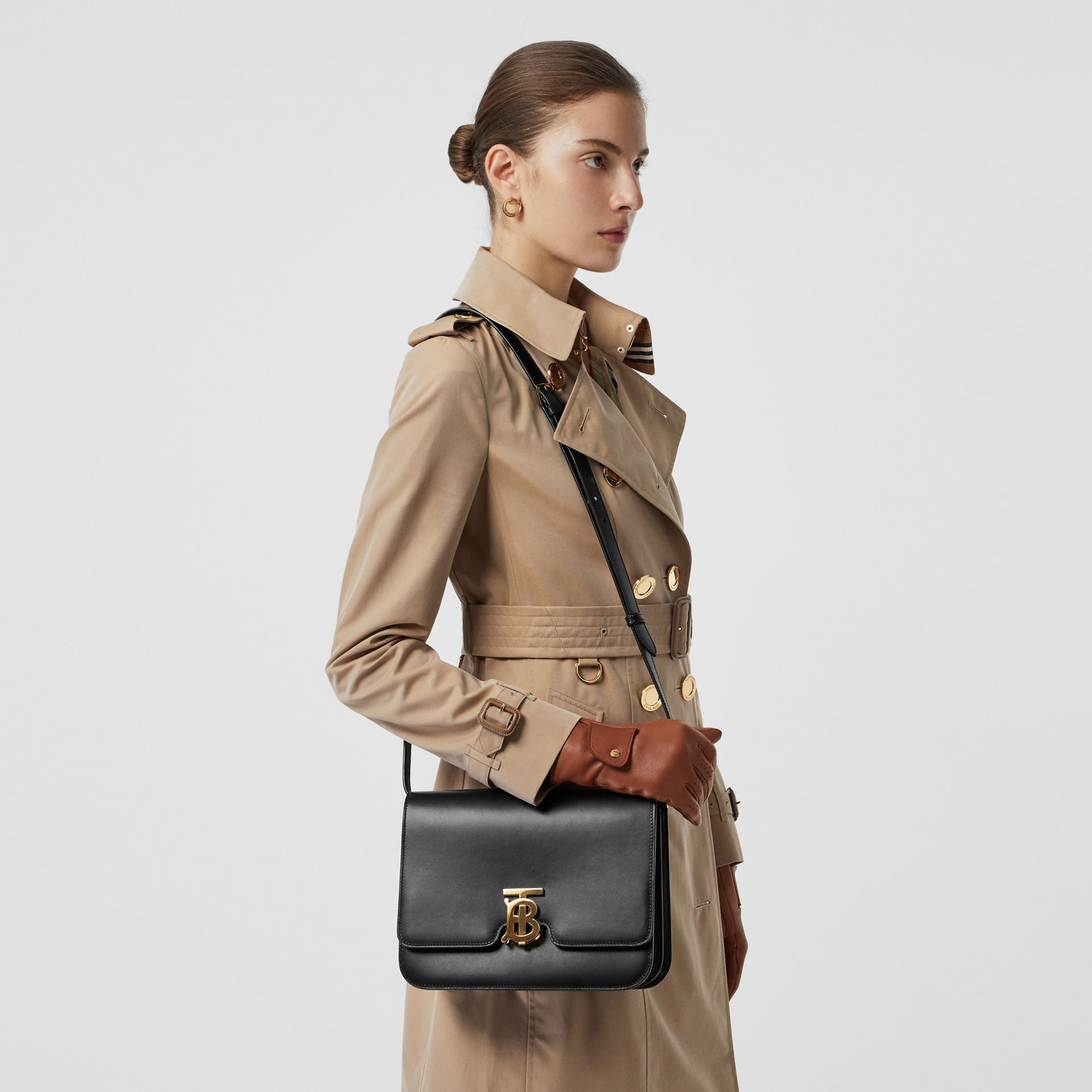 Medium Leather TB Bag in Black - Women | Burberry Australia - gallery image 3