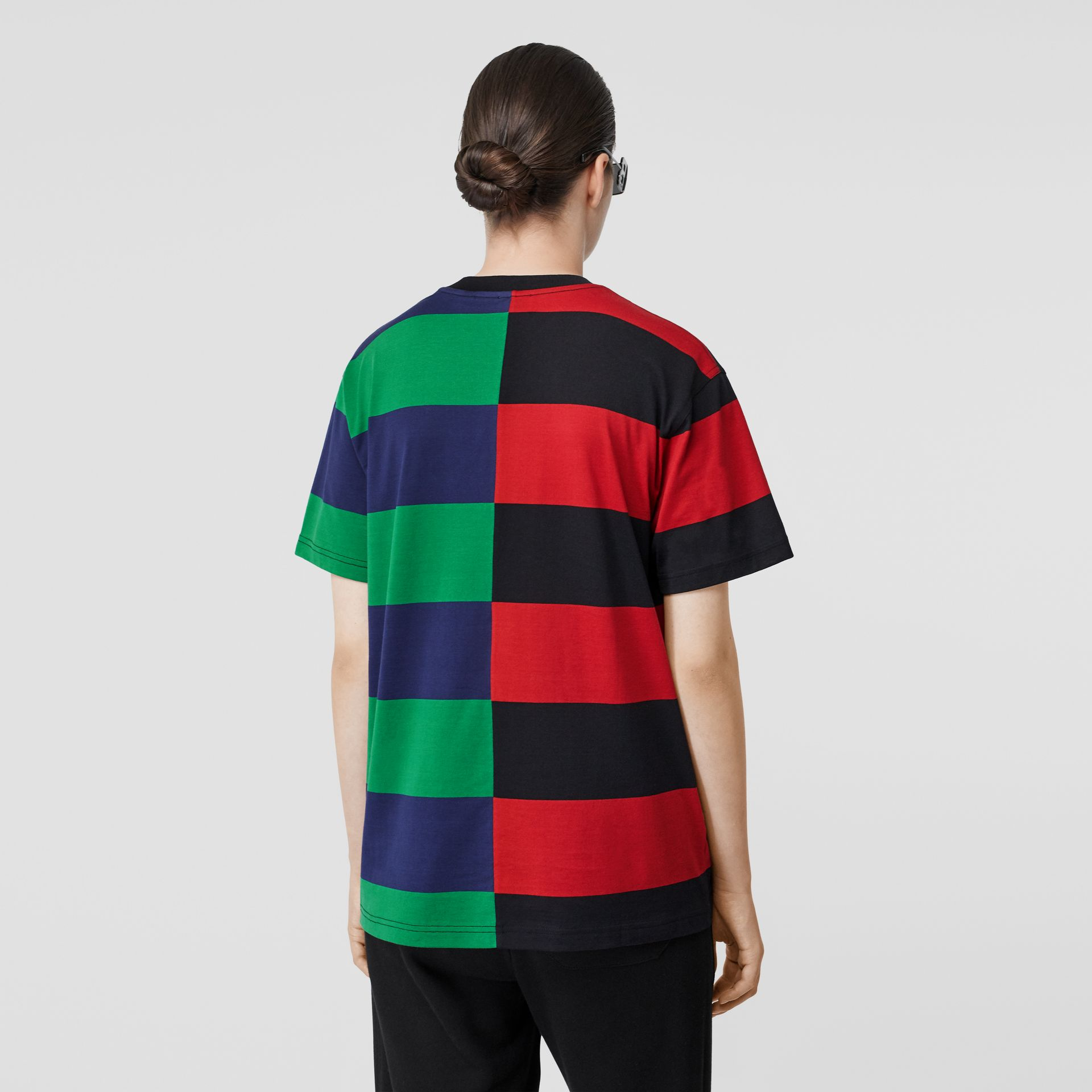 Contrast Stripe Cotton Oversized T-shirt in Bright Red - Women | Burberry Australia - gallery image 2