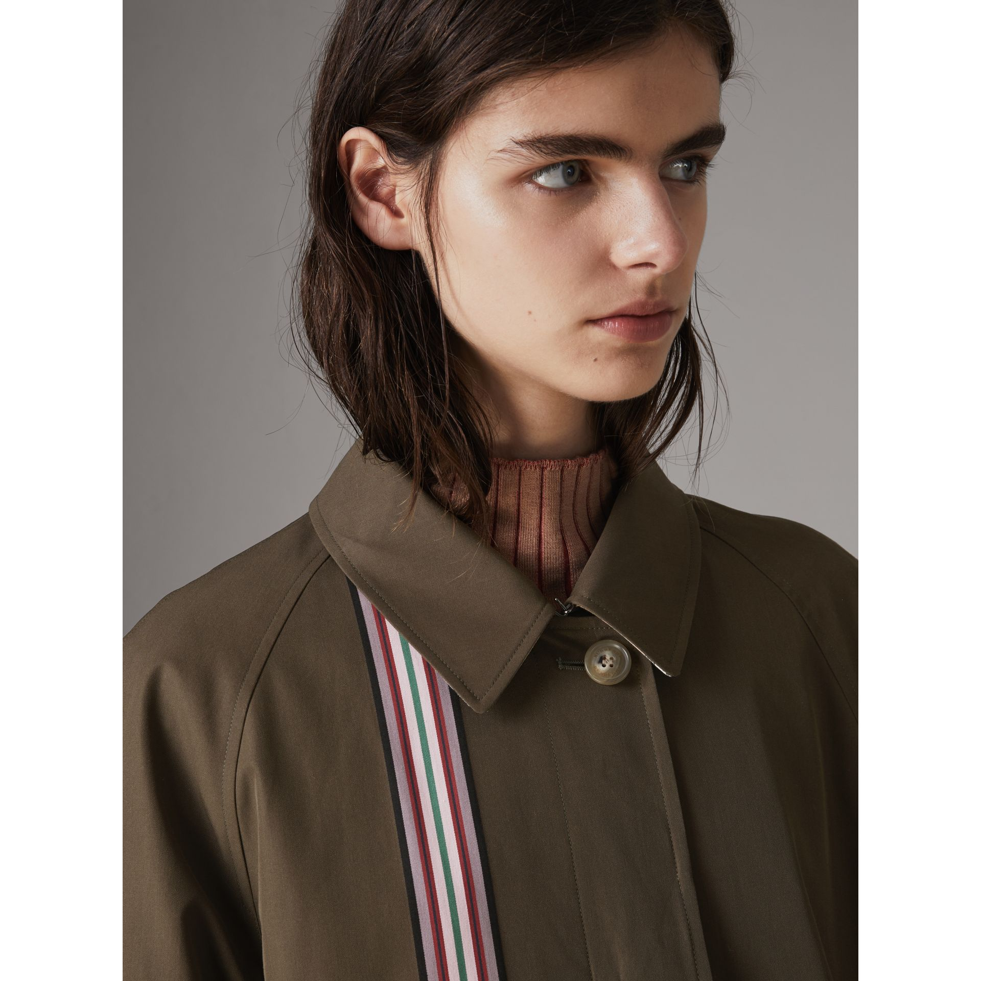 Striped Ribbon Cotton Gabardine Car Coat in Olive - Women | Burberry - gallery image 5