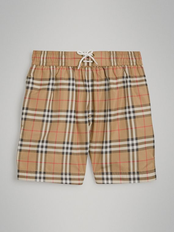 Vintage Check Swim Shorts in Camel