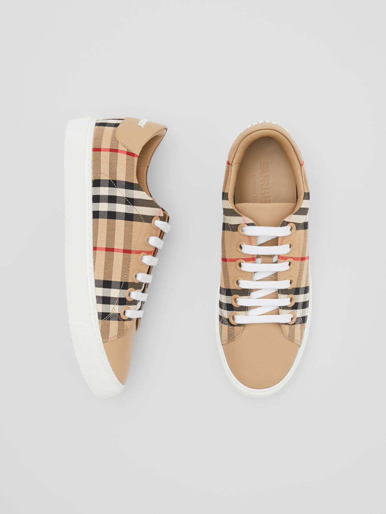 Vintage Check and Leather Sneakers in Archive Beige
