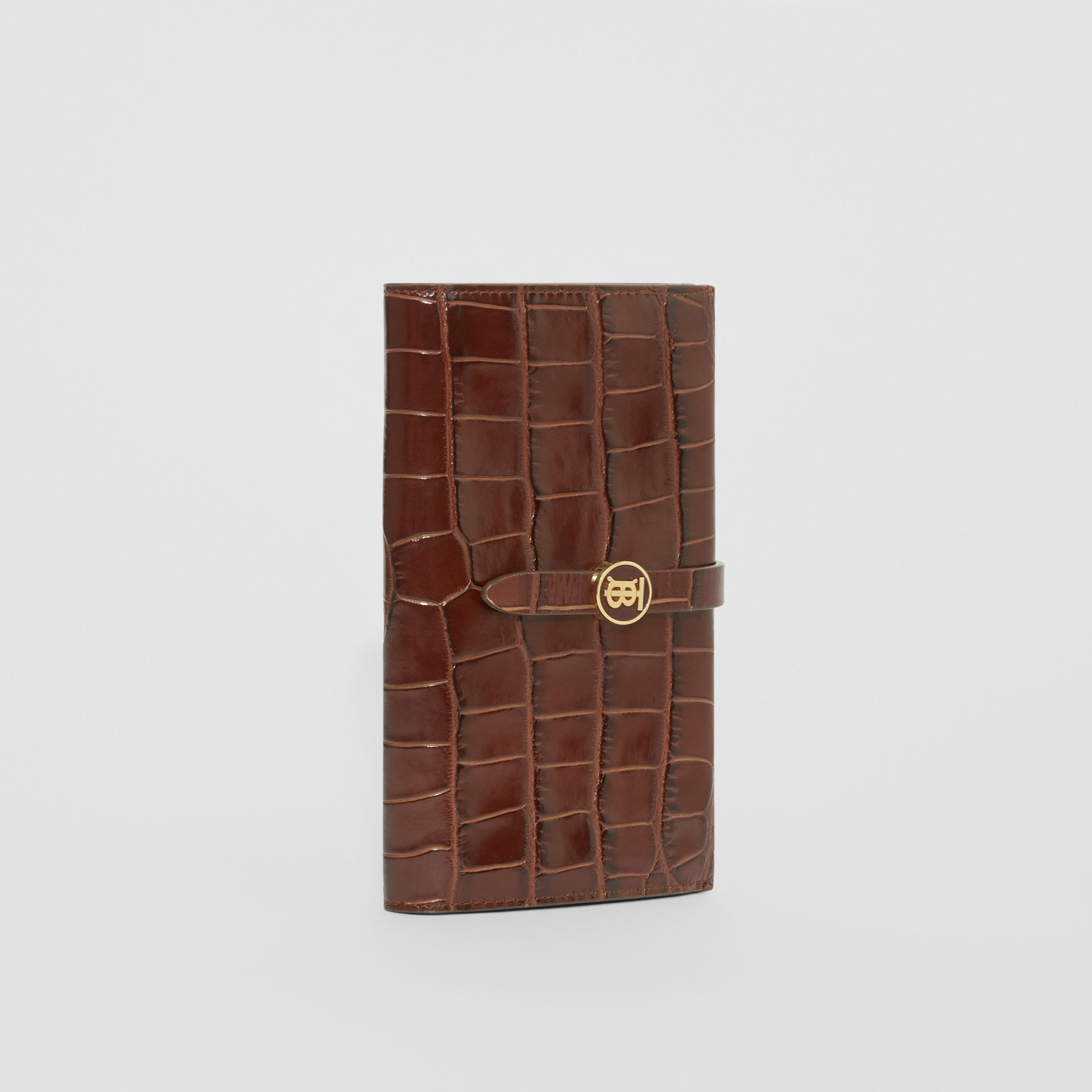 Monogram Motif Embossed Leather Folding Wallet in Tan - Women | Burberry - gallery image 4