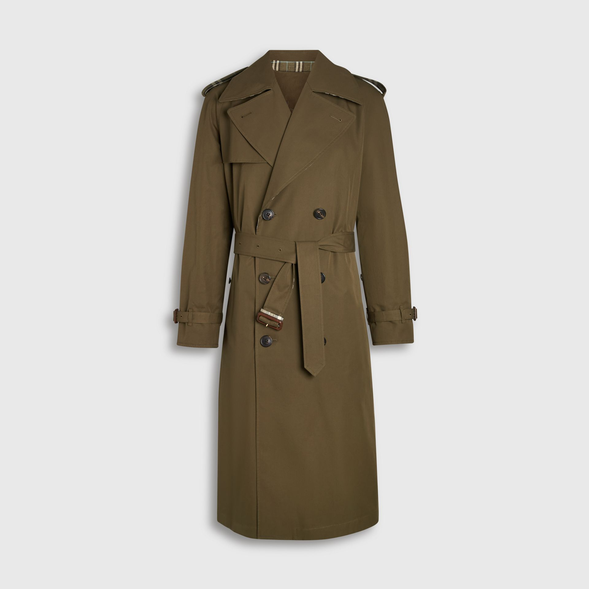 Reversible Tropical Gabardine and Check Trench Coat in Olive Green - Men | Burberry United Kingdom - gallery image 3