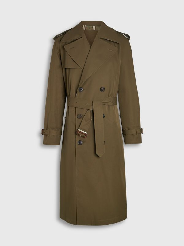 Reversible Tropical Gabardine and Check Trench Coat in Olive Green - Men | Burberry United Kingdom - cell image 3