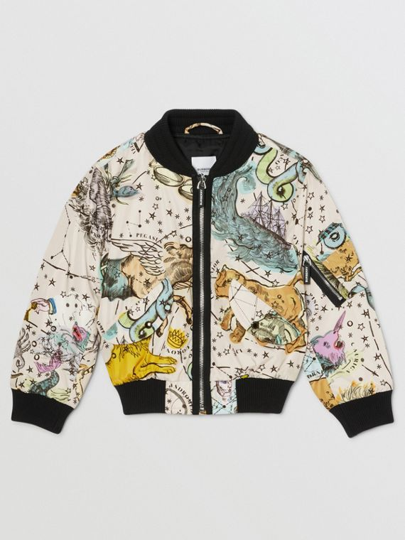 Constellation Print Taffeta Bomber Jacket in Multicolour