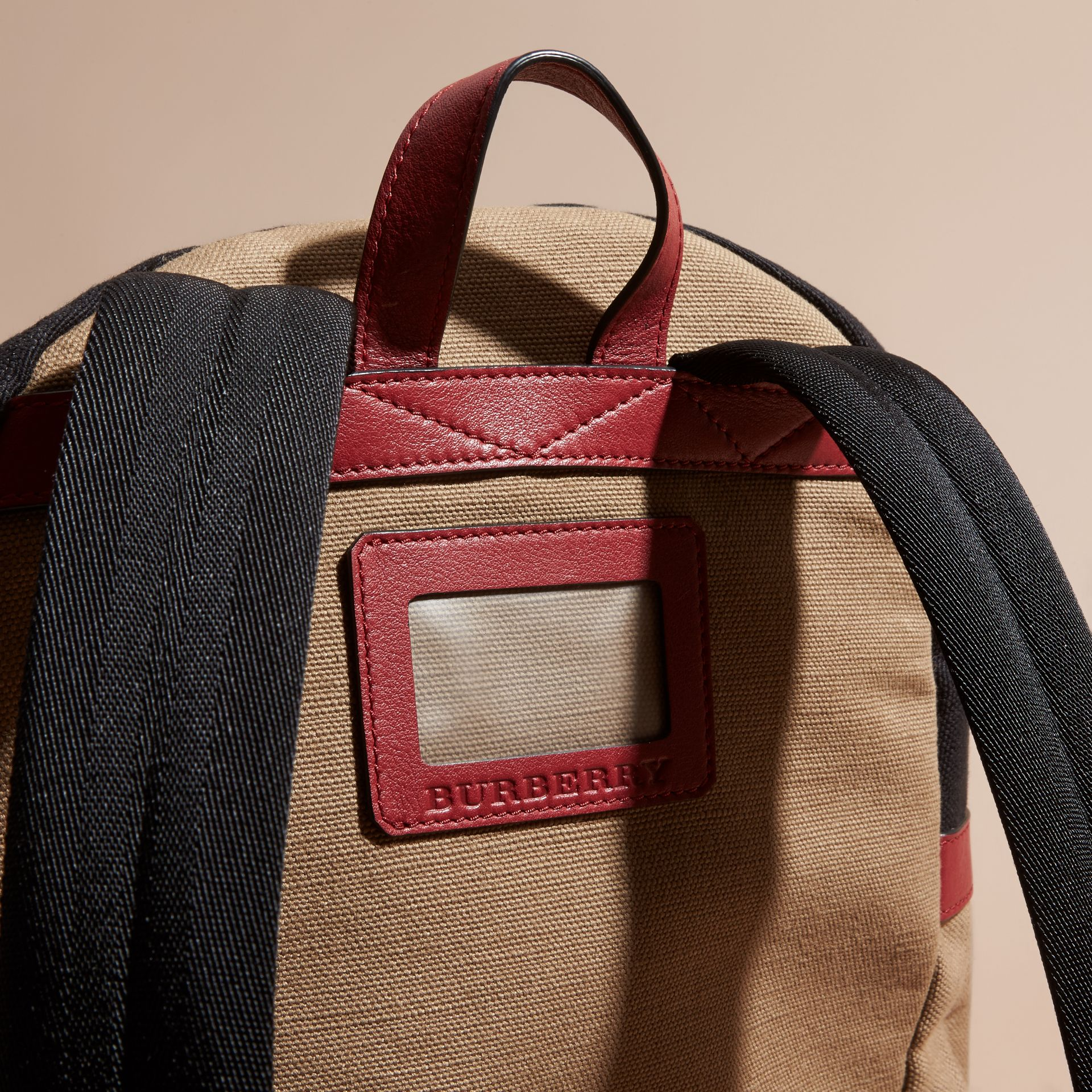 Parade red Appliquéd Weather Graphic Check and Leather Backpack - gallery image 2