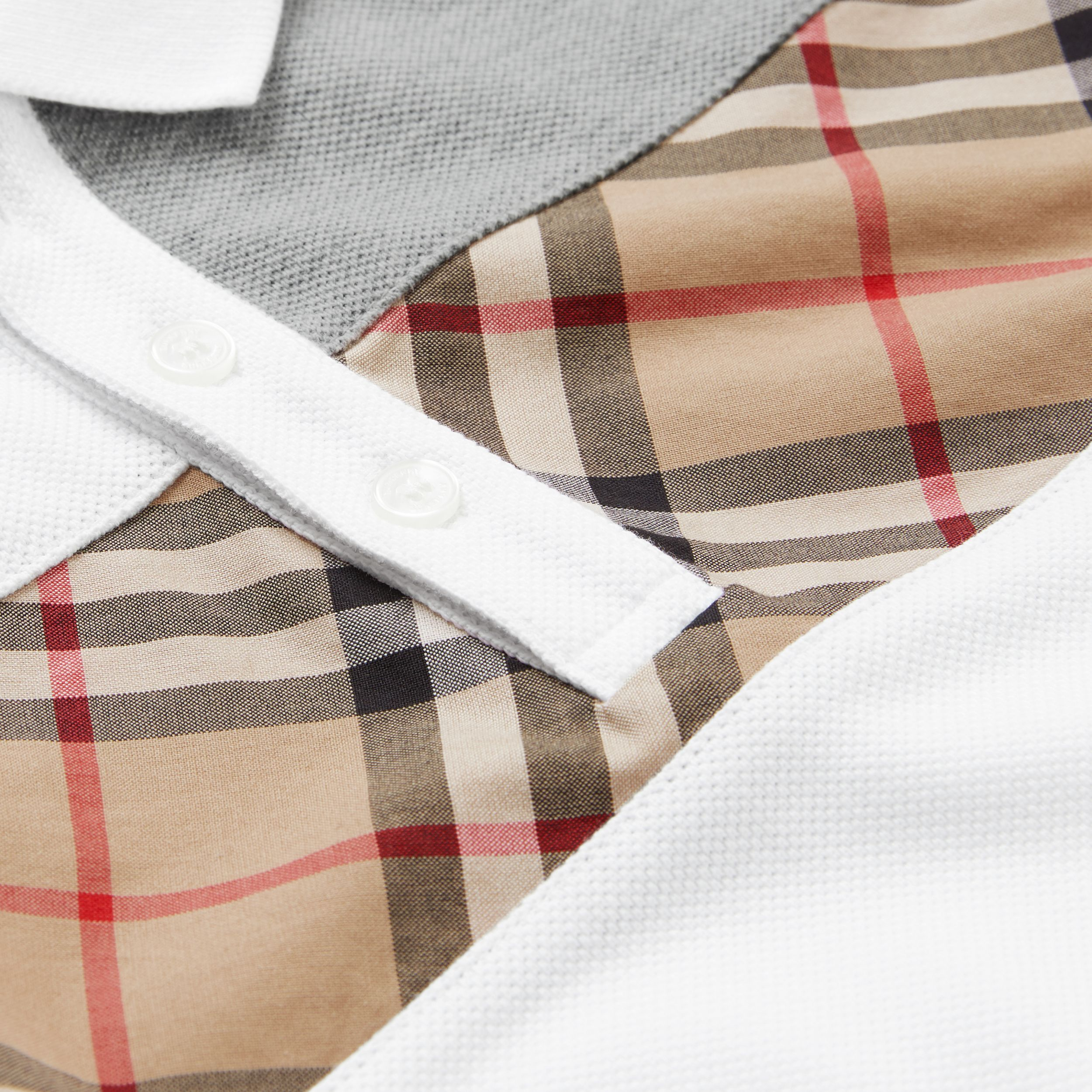 Vintage Check Panel Cotton Polo Shirt in White | Burberry - 2