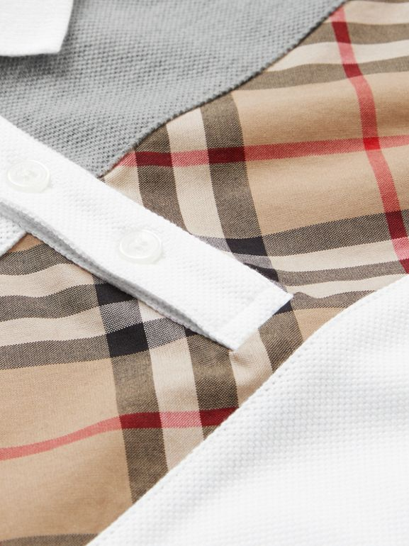 Vintage Check Panel Cotton Polo Shirt in White | Burberry Canada - cell image 1