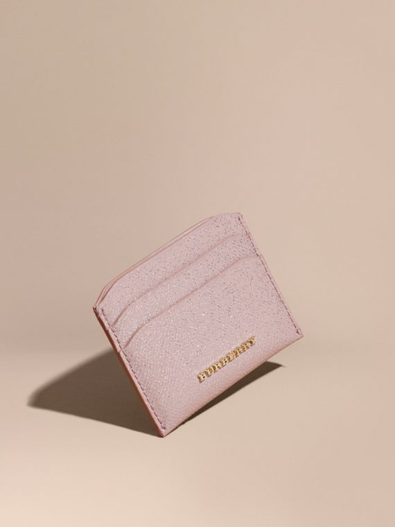 London Leather Glitter Card Case Pale Orchid