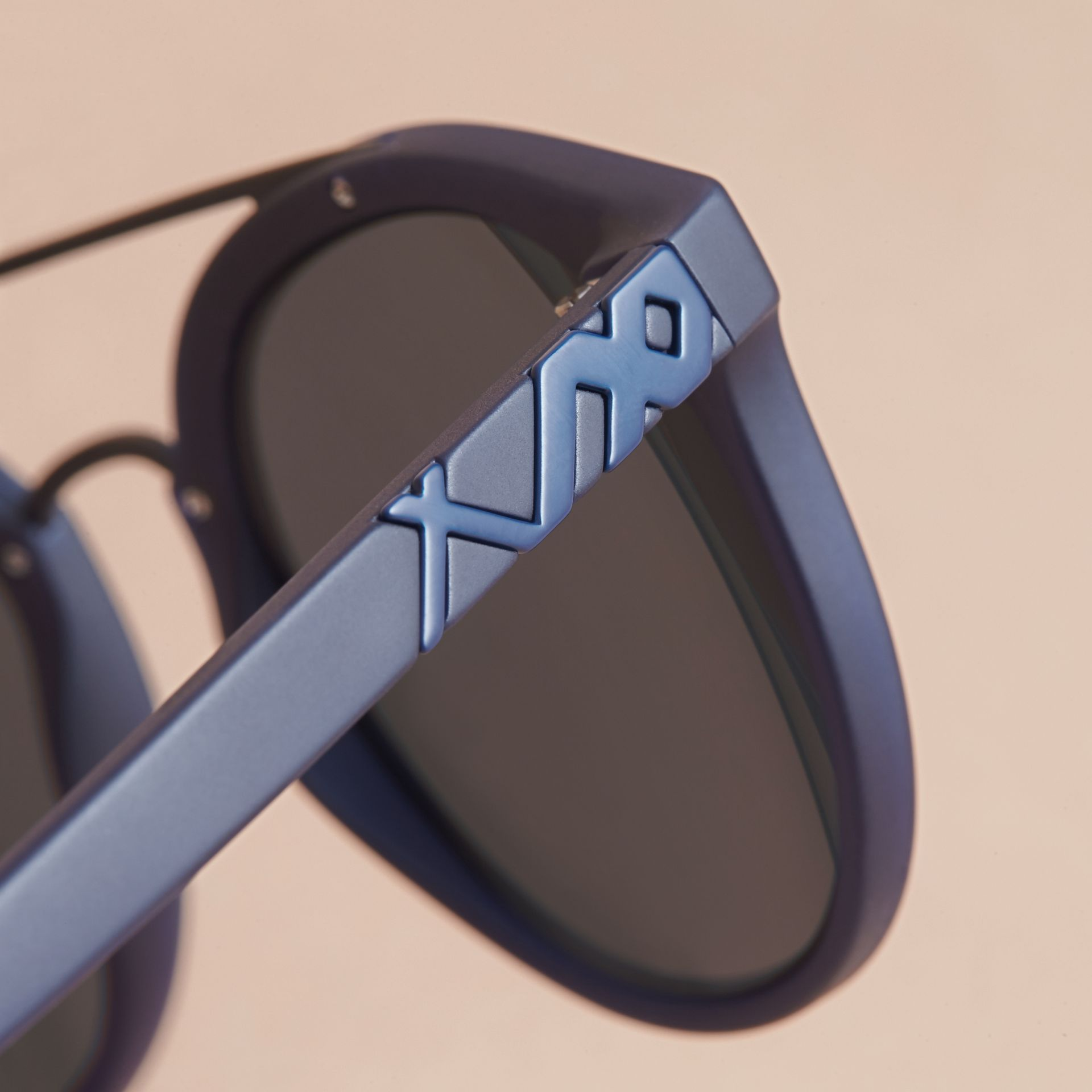 Top Bar Square Frame Sunglasses in Navy | Burberry - gallery image 1