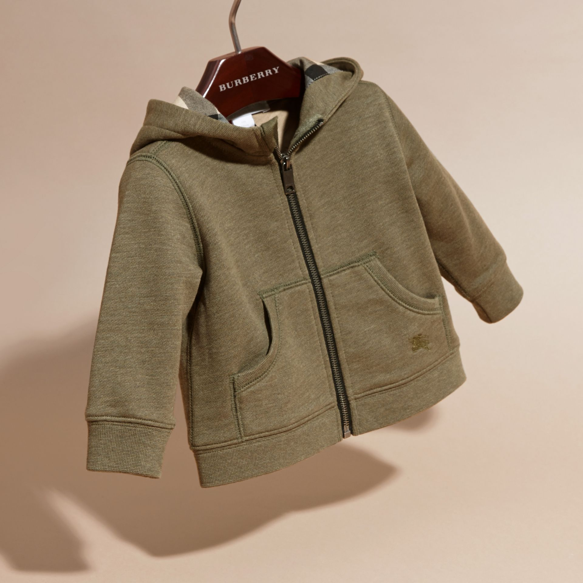 Check Detail Hooded Cotton Top in Khaki Green Melange | Burberry - gallery image 3