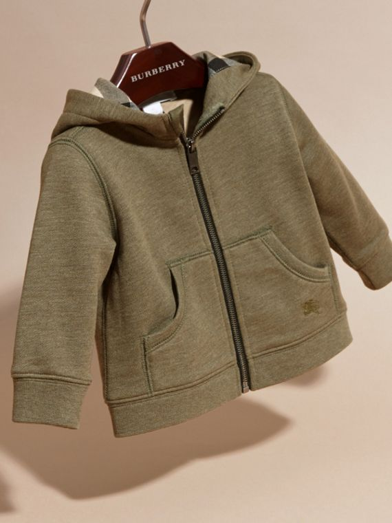 Check Detail Hooded Cotton Top in Khaki Green Melange | Burberry - cell image 2