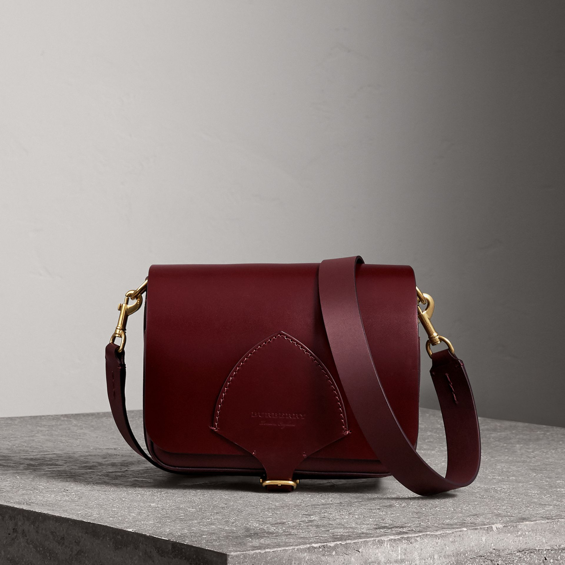The Square Satchel in Bridle Leather in Deep Claret - Women | Burberry - gallery image 0