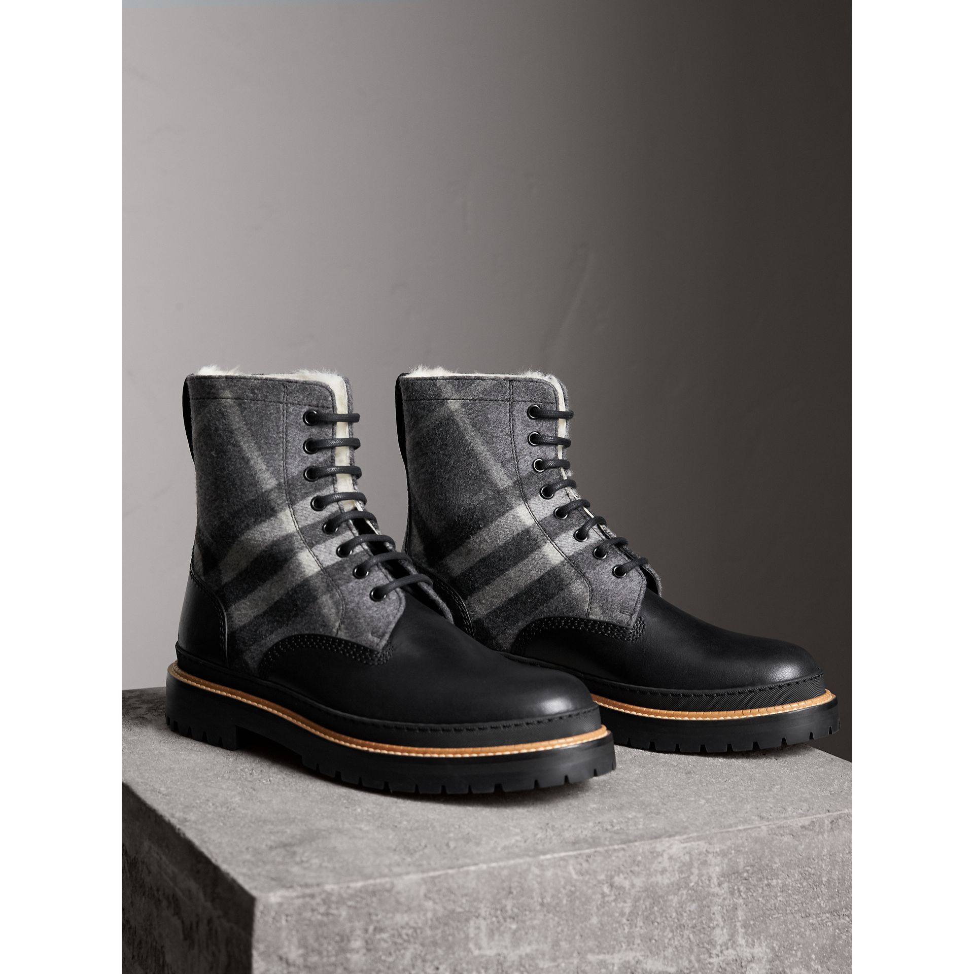 Shearling-lined Leather and Check Boots in Black - Men | Burberry Singapore - gallery image 4