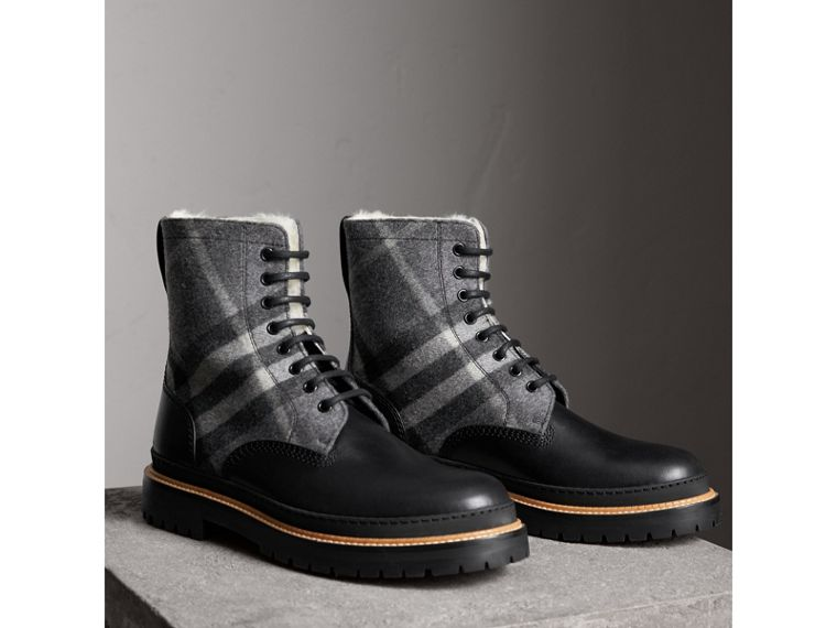 Shearling-lined Leather and Check Boots in Black - Men | Burberry - cell image 4