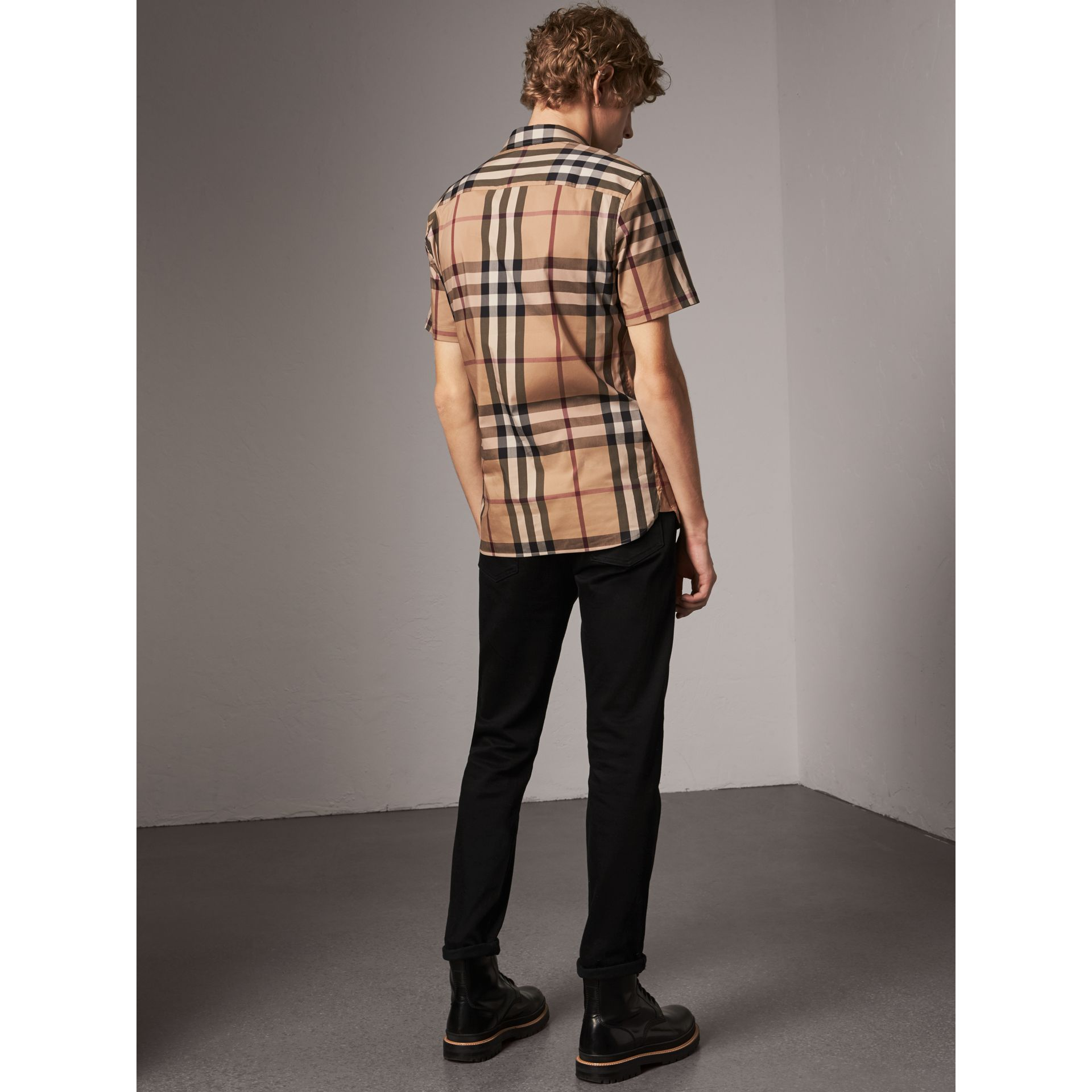 Short-sleeved Check Stretch Cotton Shirt in Camel - Men | Burberry - gallery image 2