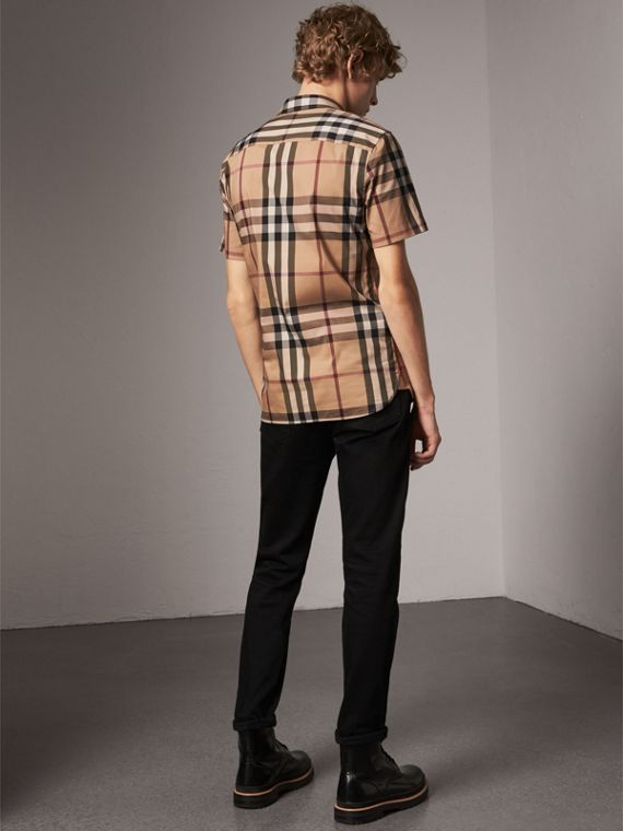 Short-sleeved Check Stretch Cotton Shirt in Camel - Men | Burberry - cell image 2