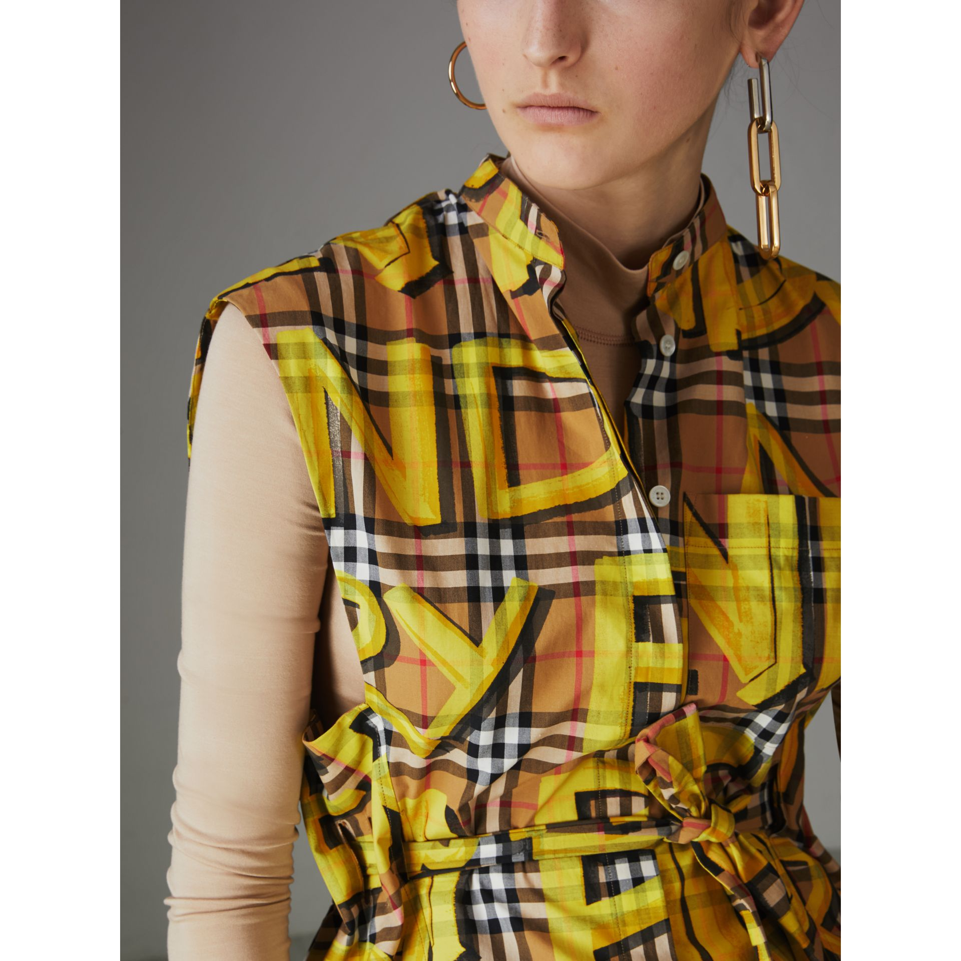 Sleeveless Graffiti Print Vintage Check Cotton Shirt in Bright Yellow - Women | Burberry - gallery image 1
