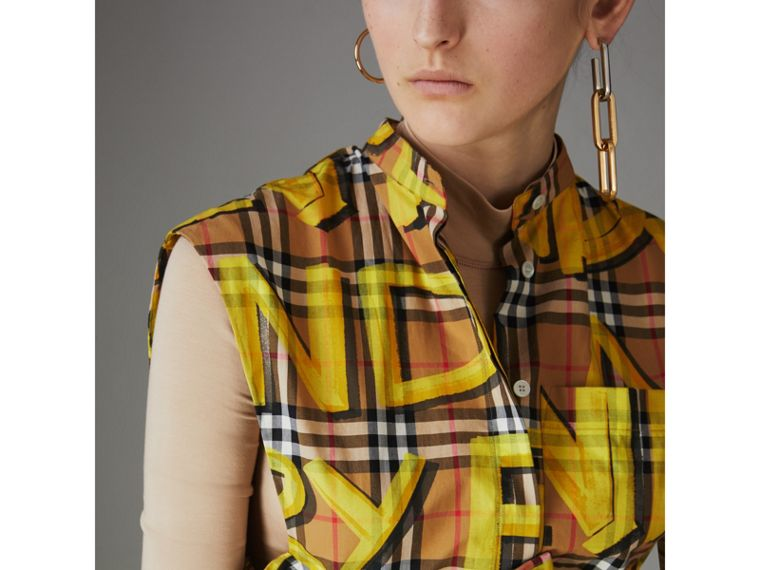 Sleeveless Graffiti Print Vintage Check Cotton Shirt in Bright Yellow - Women | Burberry - cell image 1