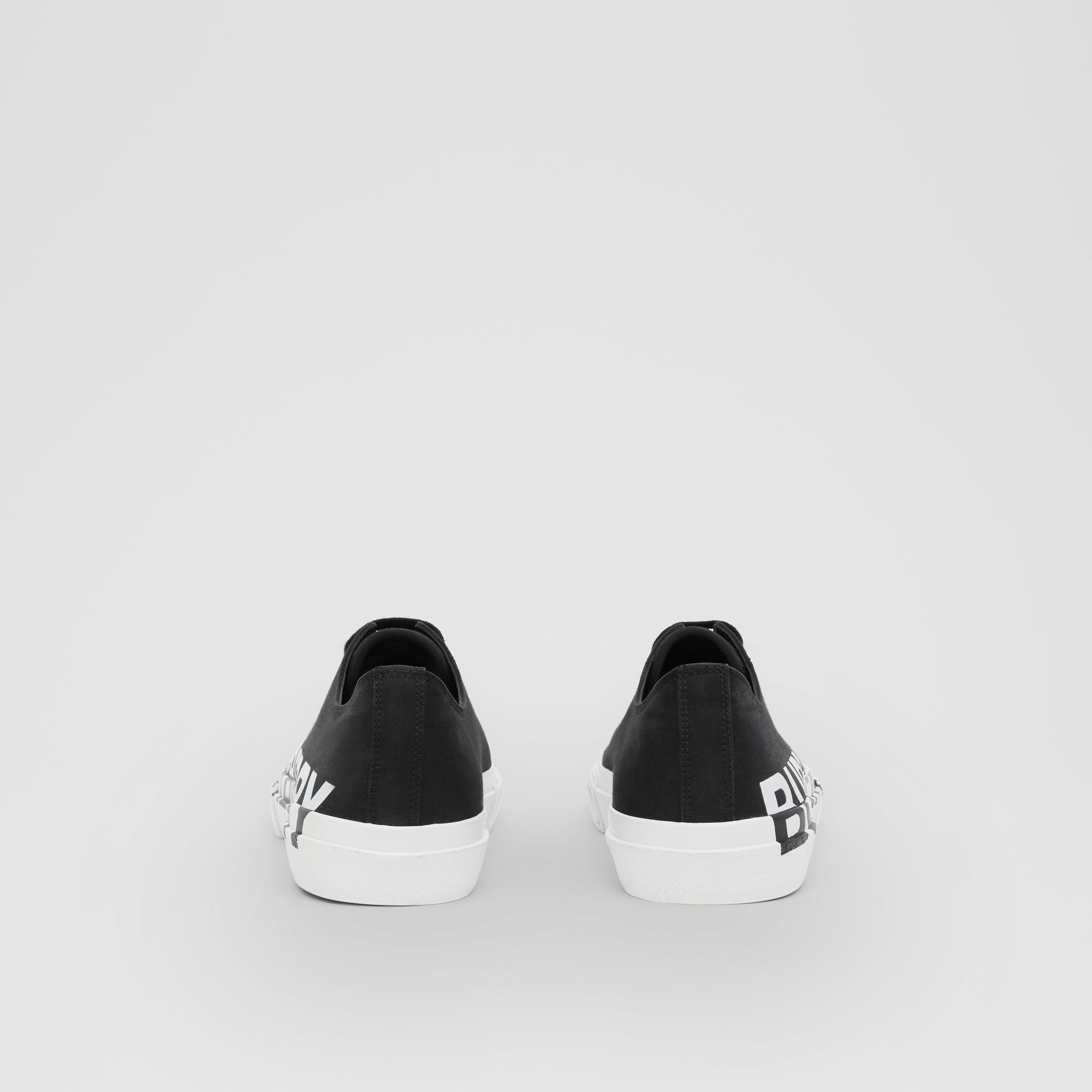 Logo Print Two-tone Cotton Gabardine Sneakers in Black/optic White - Men | Burberry United Kingdom - gallery image 3
