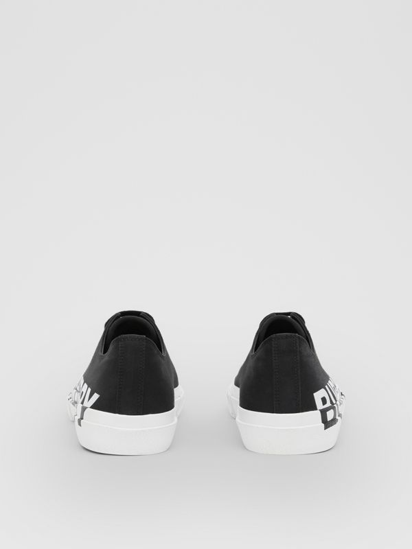 Logo Print Two-tone Cotton Gabardine Sneakers in Black/optic White - Men | Burberry United Kingdom - cell image 3