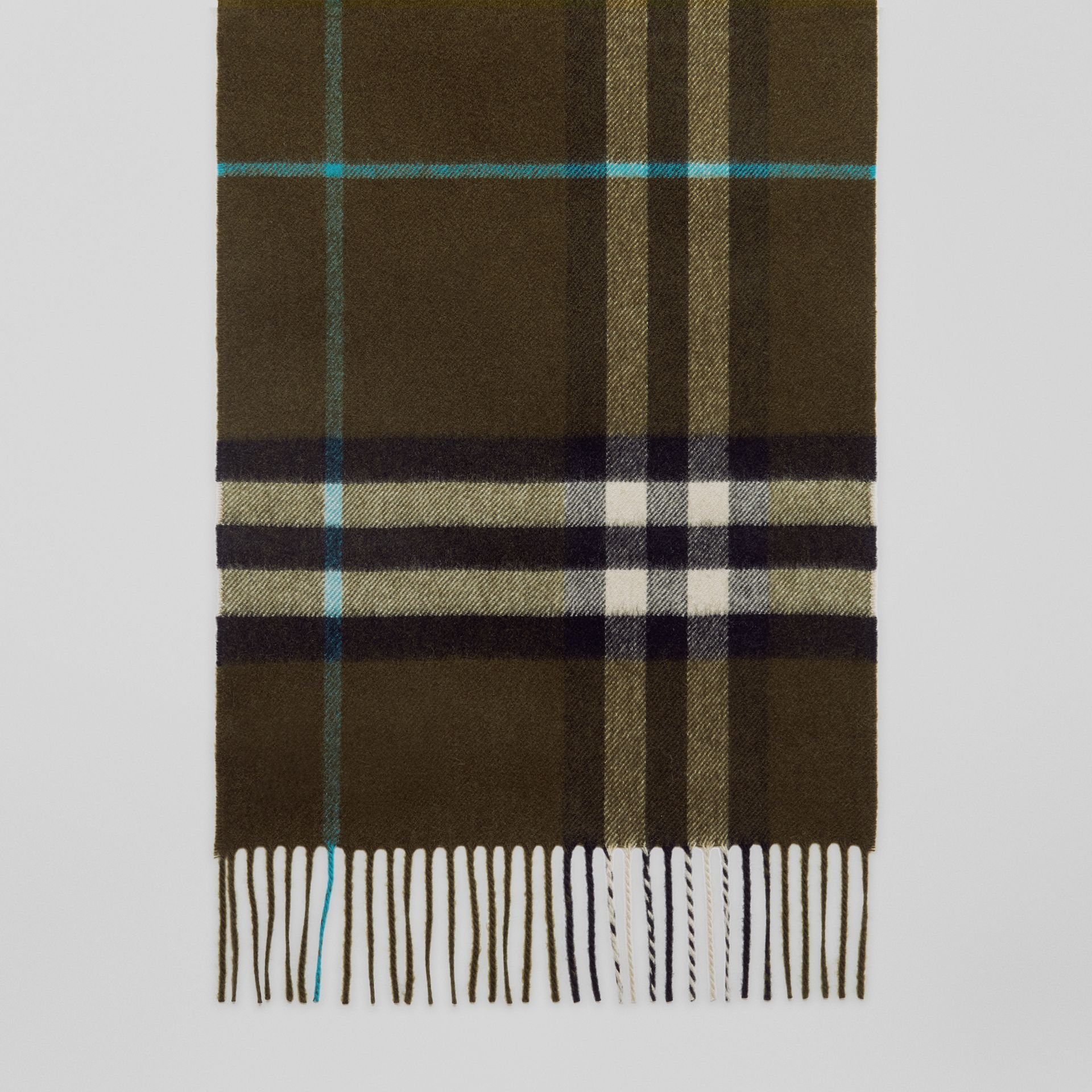 The Classic Check Cashmere Scarf in Antique Green | Burberry - gallery image 4