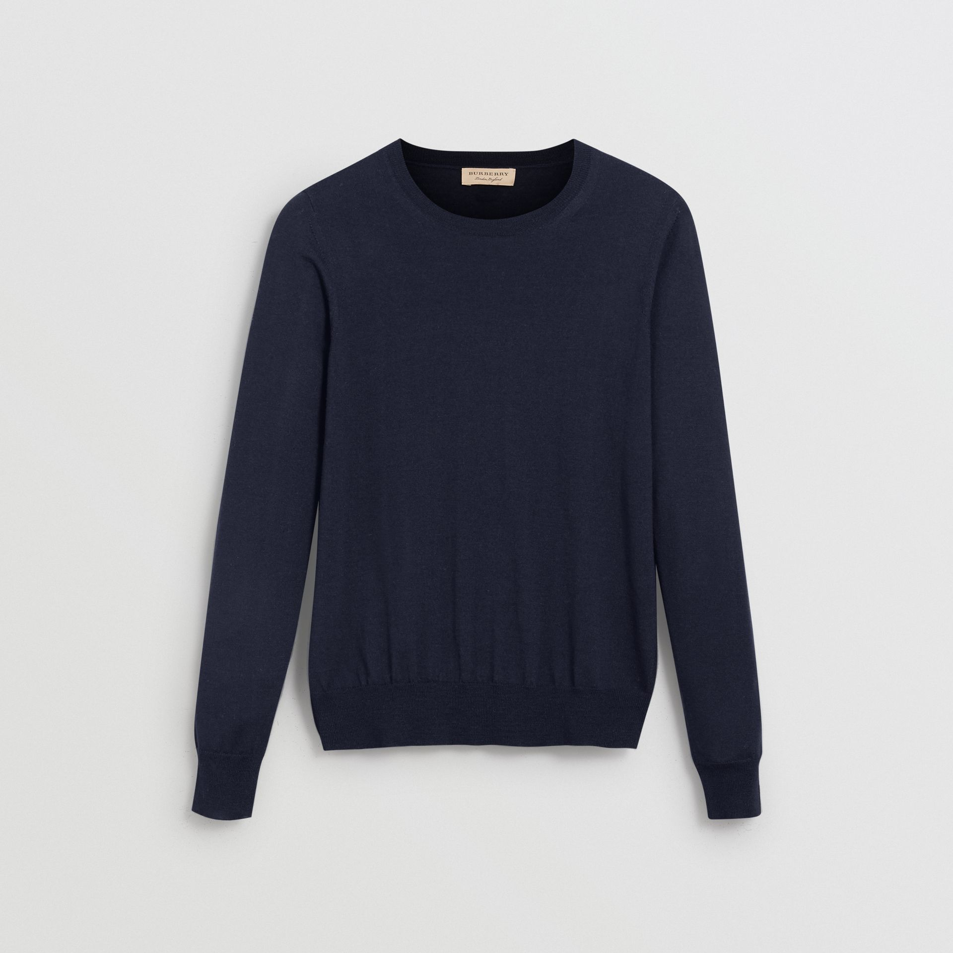 Check Detail Merino Wool Sweater in Navy - Women | Burberry United Kingdom - gallery image 3