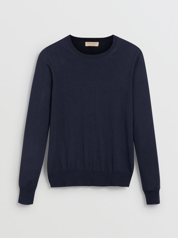 Check Detail Merino Wool Sweater in Navy - Women | Burberry United Kingdom - cell image 3