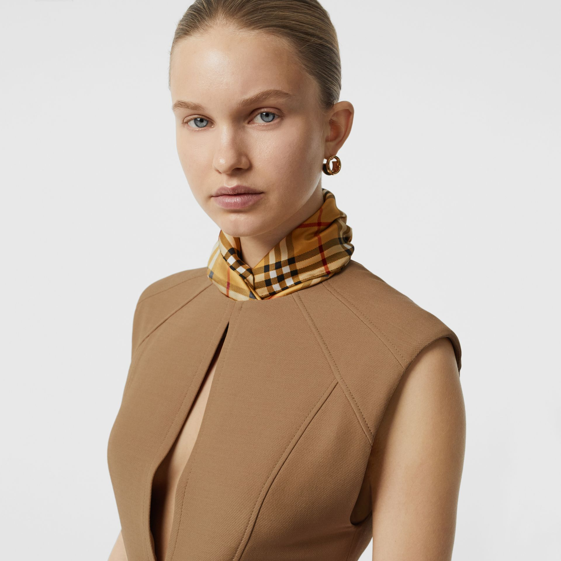 Keyhole Detail Sleeveless Wool Silk Top in Camel - Women | Burberry Australia - gallery image 1