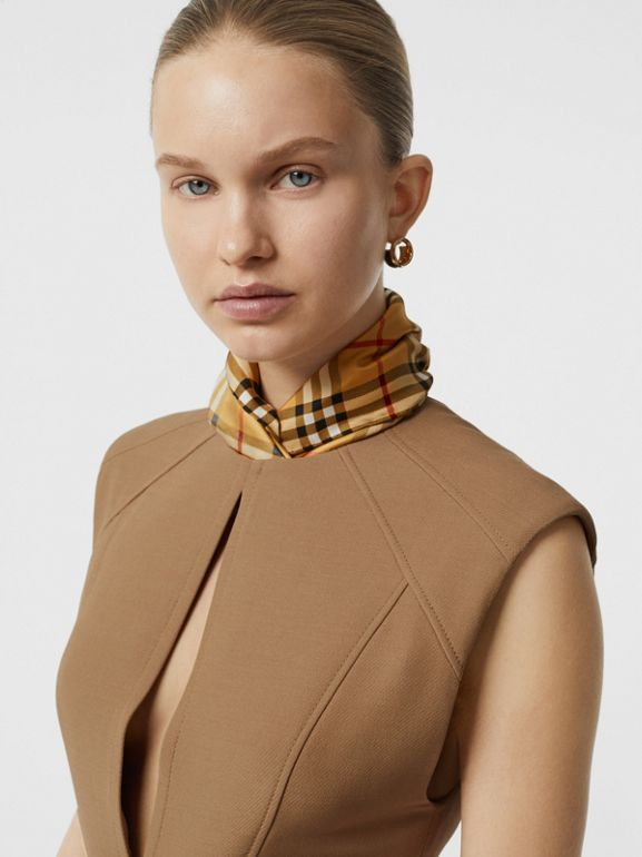 Keyhole Detail Sleeveless Wool Silk Top in Camel - Women | Burberry Australia - cell image 1