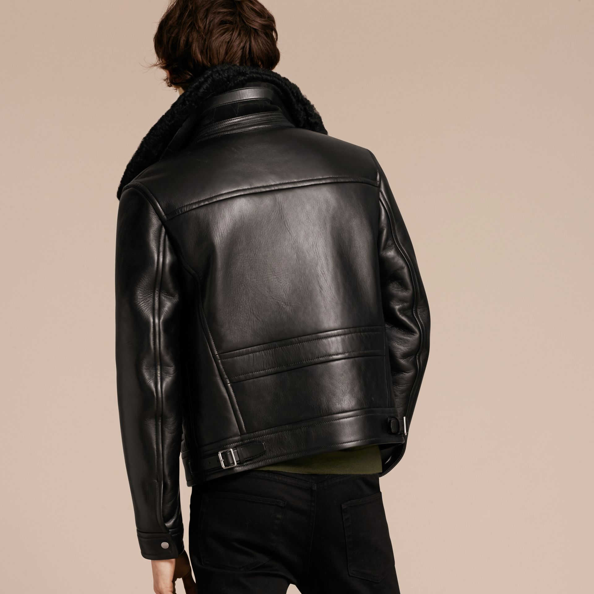 Black Lambskin and Shearling Aviator Jacket - gallery image 3