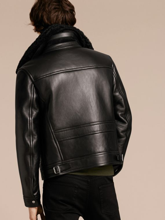 Black Lambskin and Shearling Aviator Jacket - cell image 2
