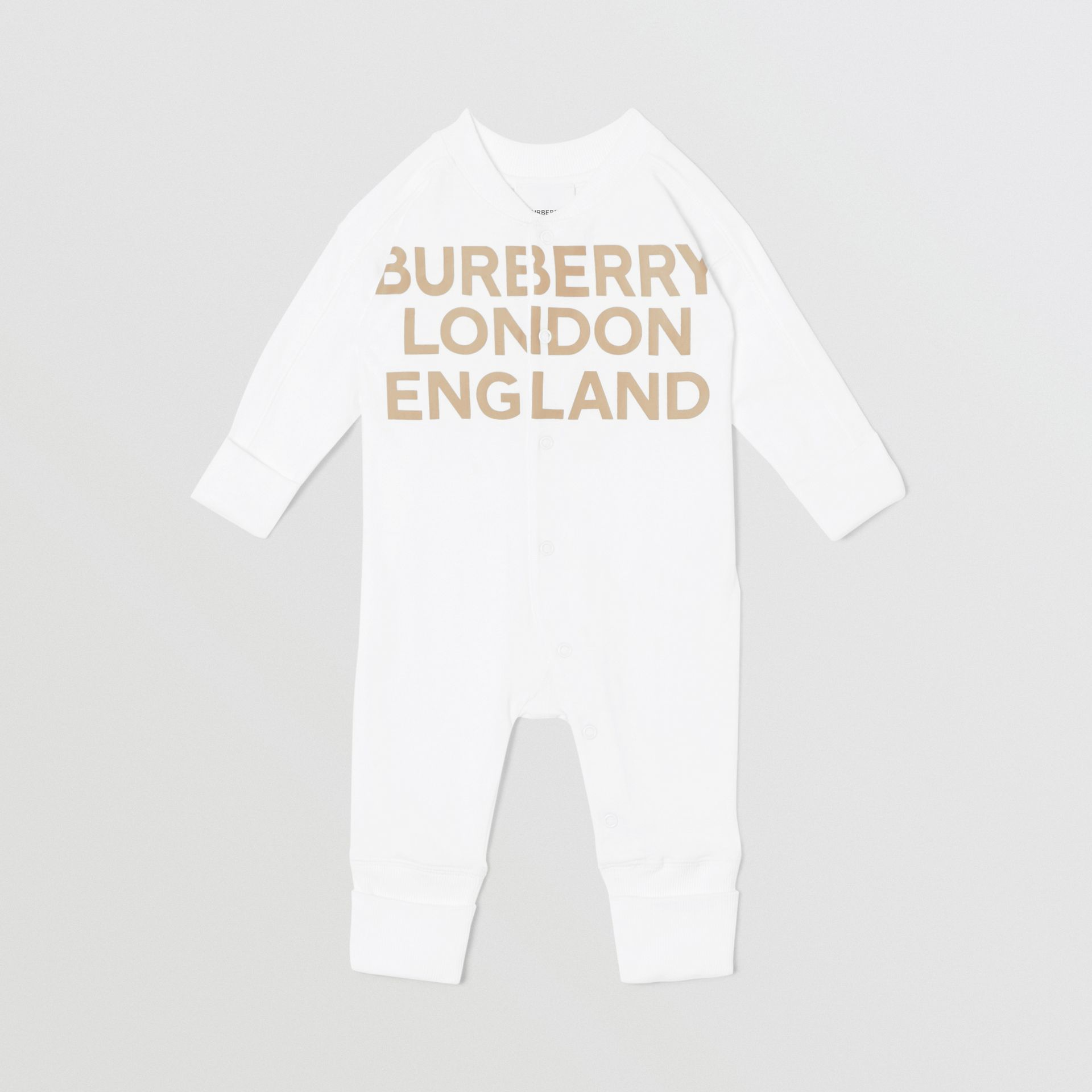 Logo Print Organic Cotton Two-piece Baby Gift Set in White - Children | Burberry United Kingdom - gallery image 8