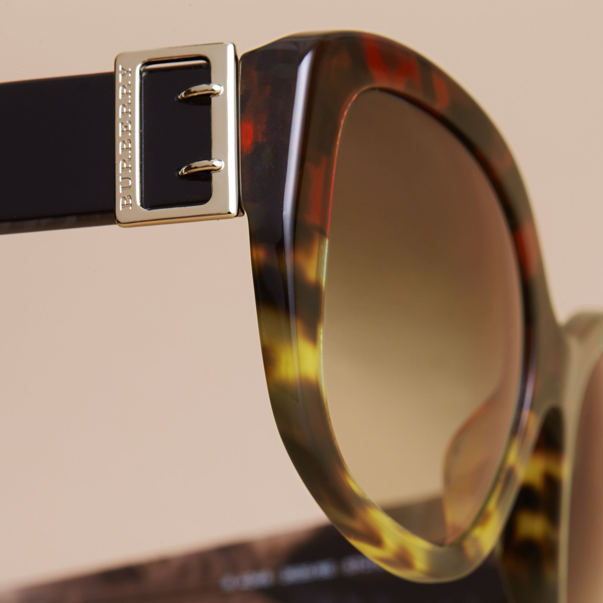 Buckle Detail Oversize Square Frame Sunglasses in Amber Yellow - Women | Burberry - gallery image 1