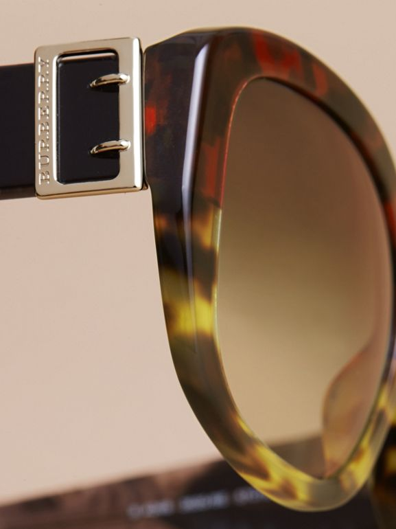 Buckle Detail Oversize Square Frame Sunglasses in Amber Yellow - Women | Burberry United States - cell image 1