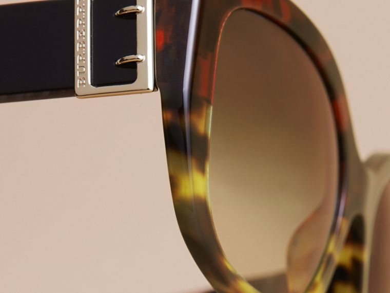 Buckle Detail Oversize Square Frame Sunglasses in Amber Yellow - Women | Burberry Australia - cell image 1