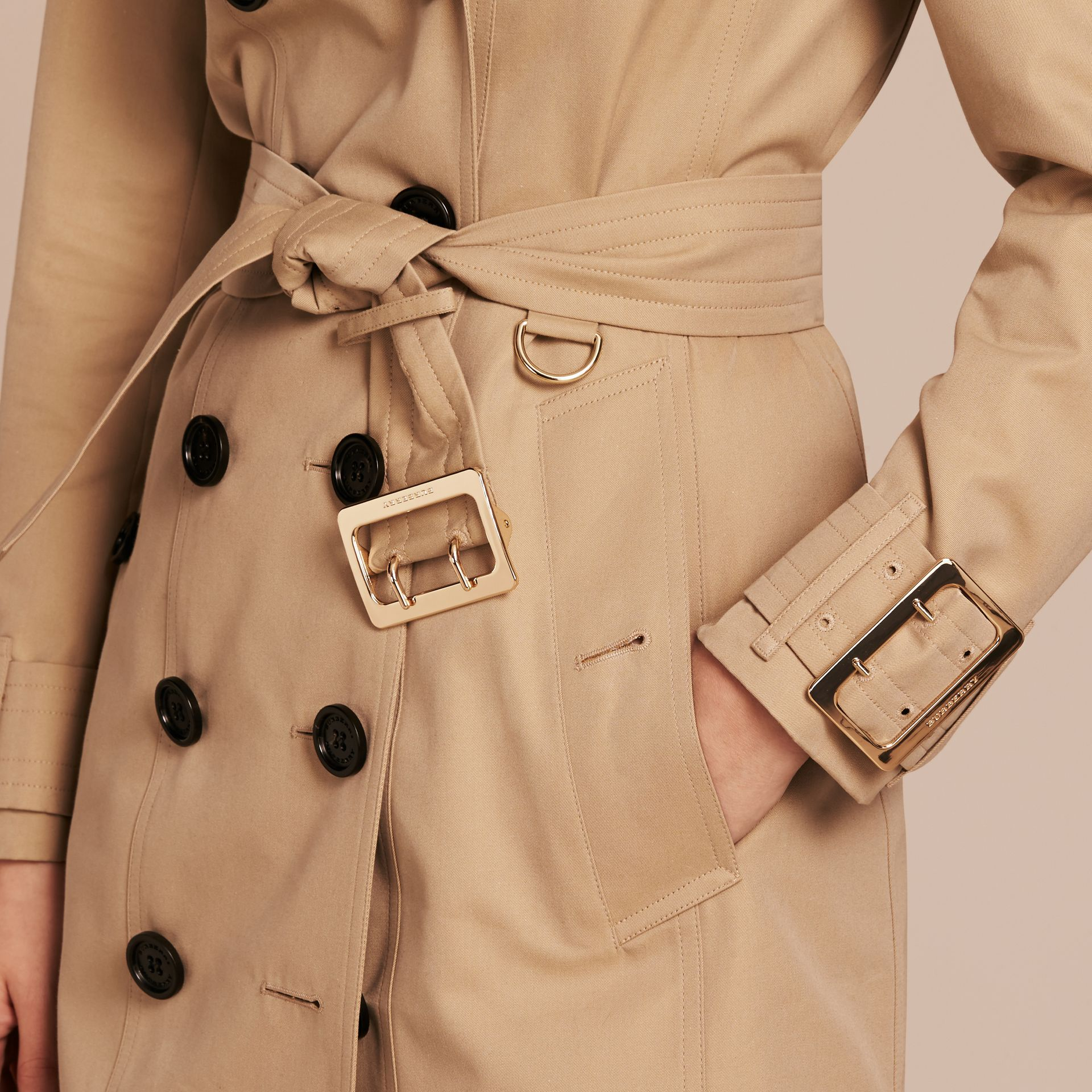 Cotton Gabardine Trench Coat with Oversize Buckle Detail in Honey - gallery image 6