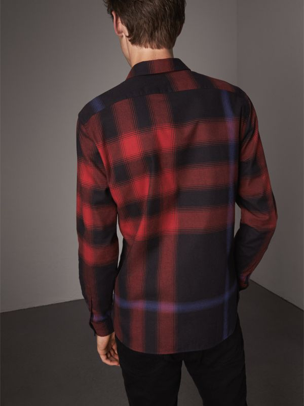 Ombré Check Cotton Flannel Shirt in Crimson Red - Men | Burberry United Kingdom - cell image 2