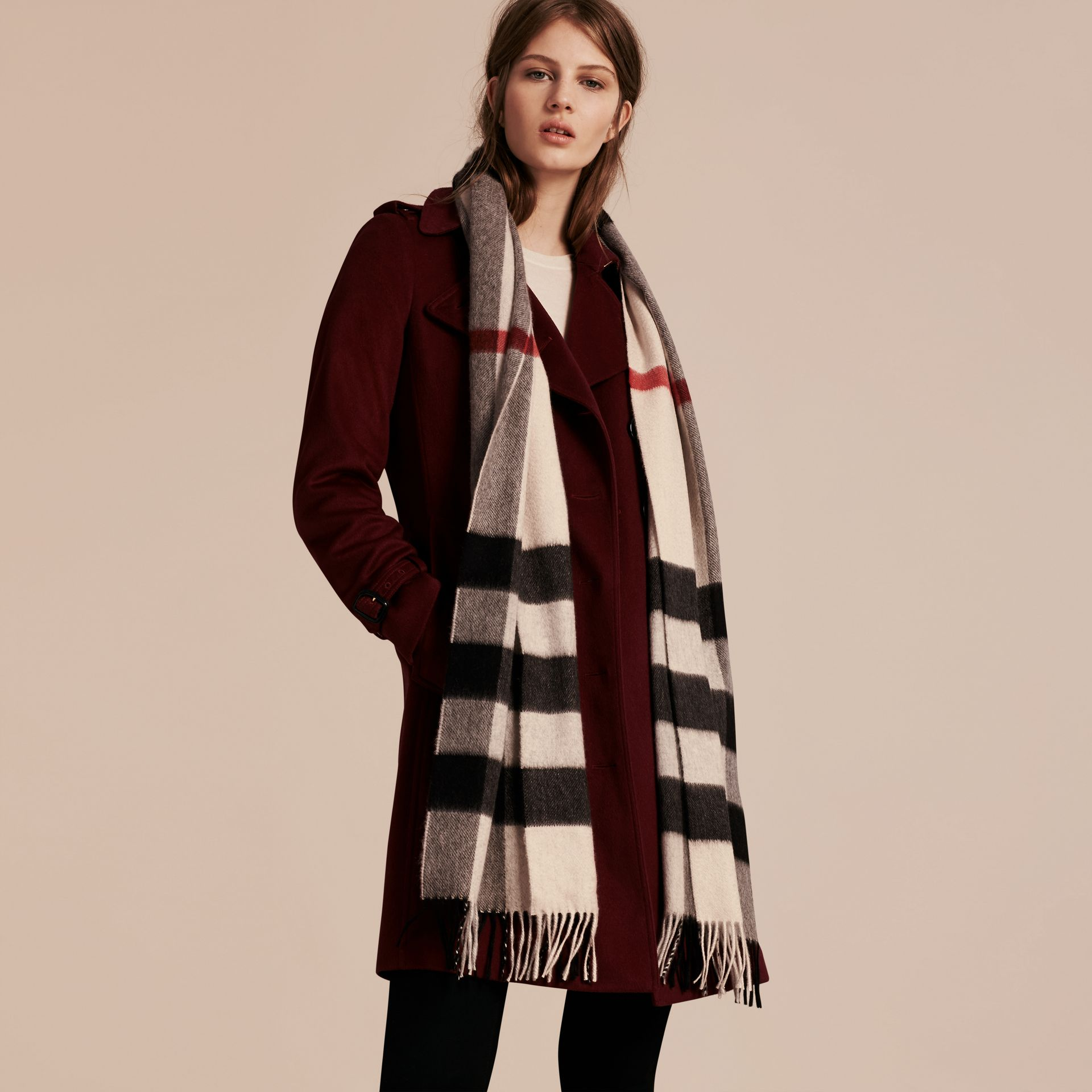 The Large Classic Cashmere Scarf in Check in Stone - gallery image 3