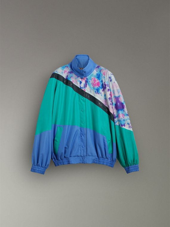 Tie-dye Silk Shell Suit Jacket in Turquoise - Women | Burberry - cell image 3