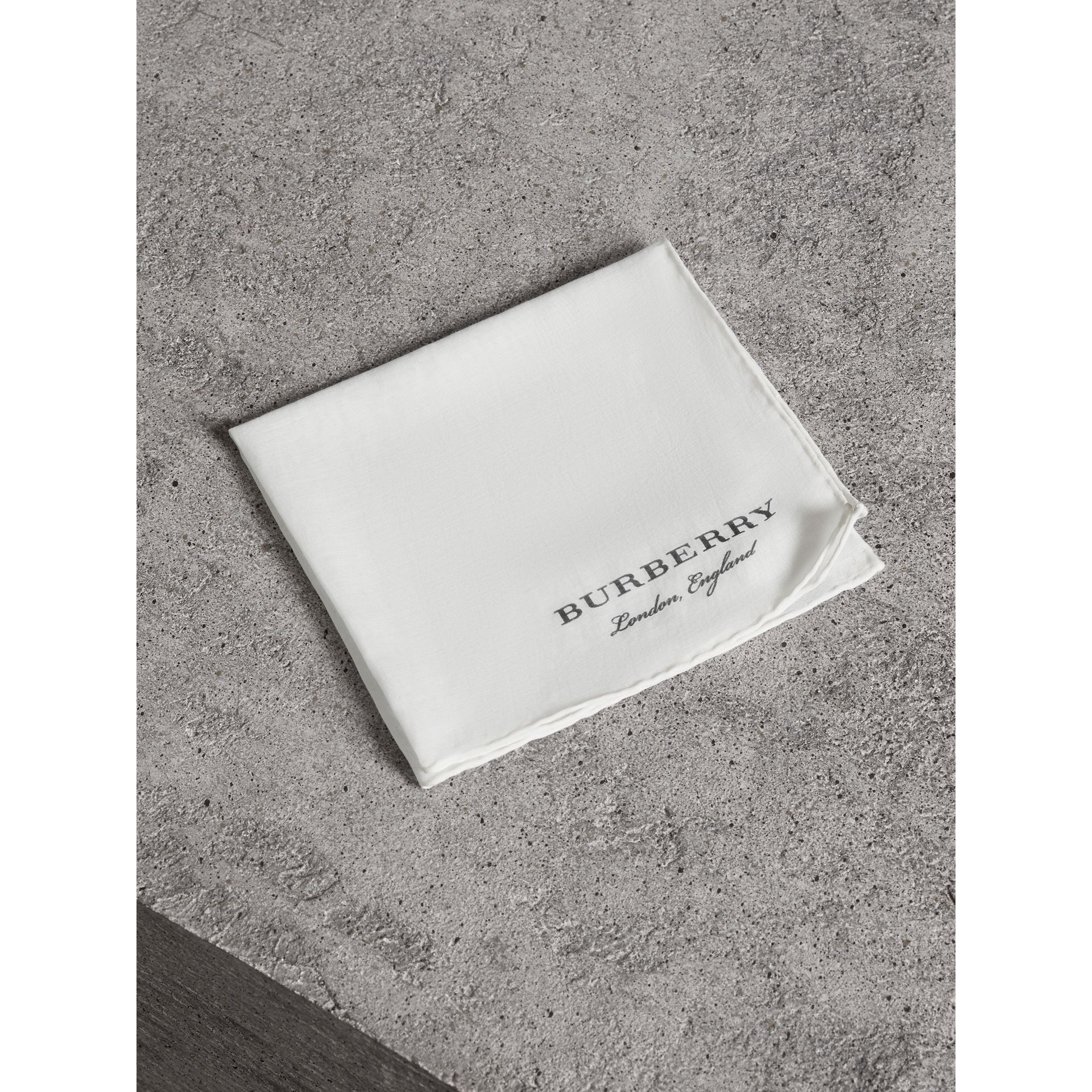 Cotton Silk Pocket Square in White - Men | Burberry - gallery image 0