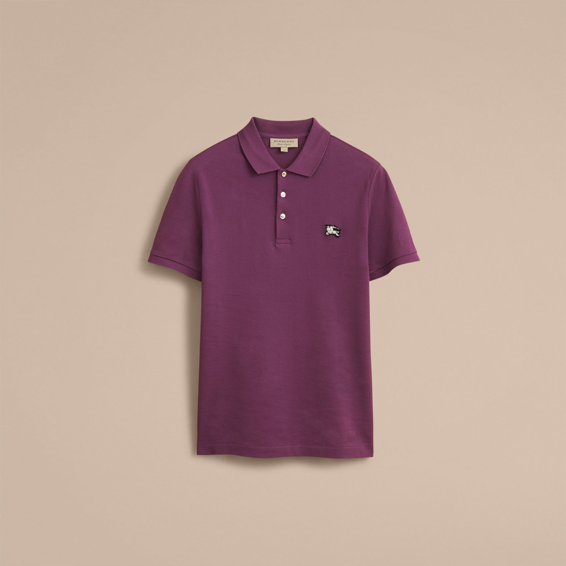 Cotton Piqué Polo Shirt in Heather - Men | Burberry Canada - gallery image 4