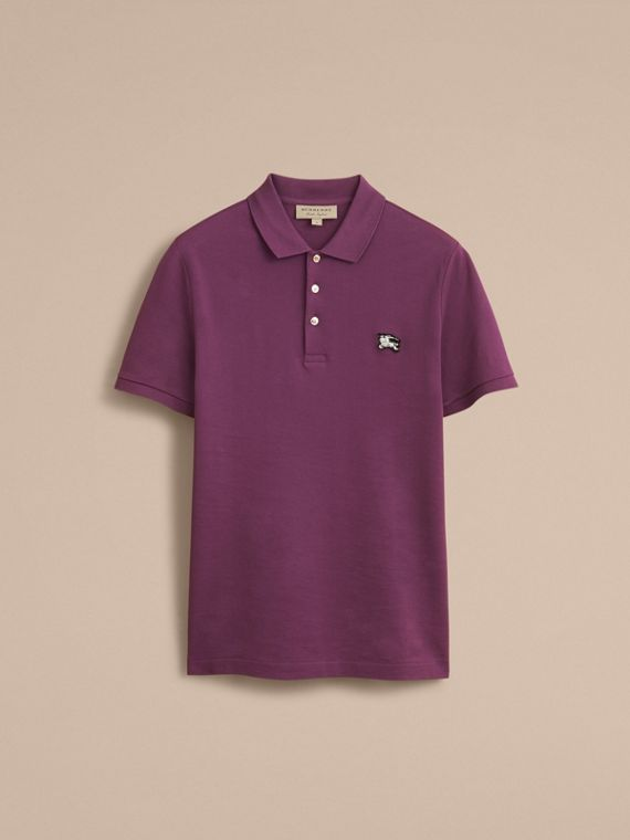 Cotton Piqué Polo Shirt in Heather - Men | Burberry - cell image 3
