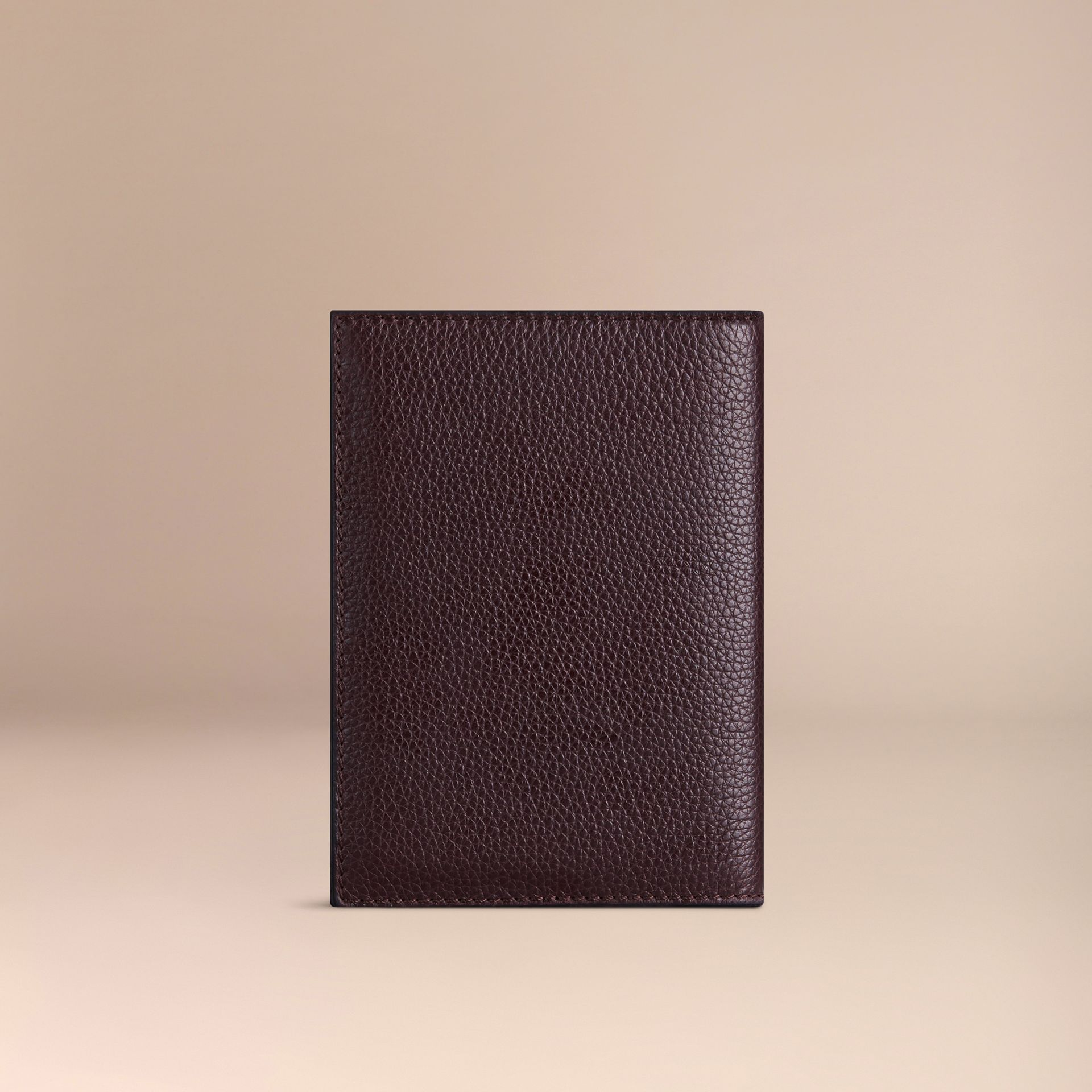Grainy Leather Passport Cover in Ebony Red | Burberry - gallery image 2