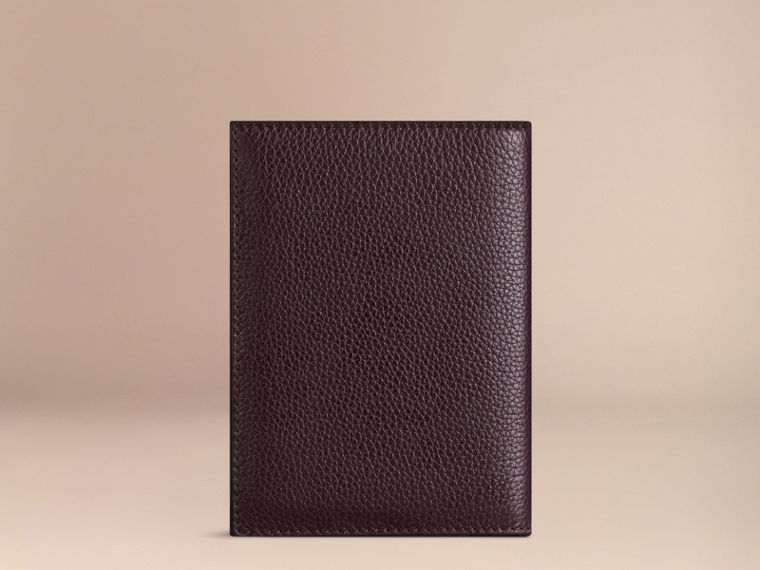 Grainy Leather Passport Cover in Ebony Red | Burberry - cell image 1