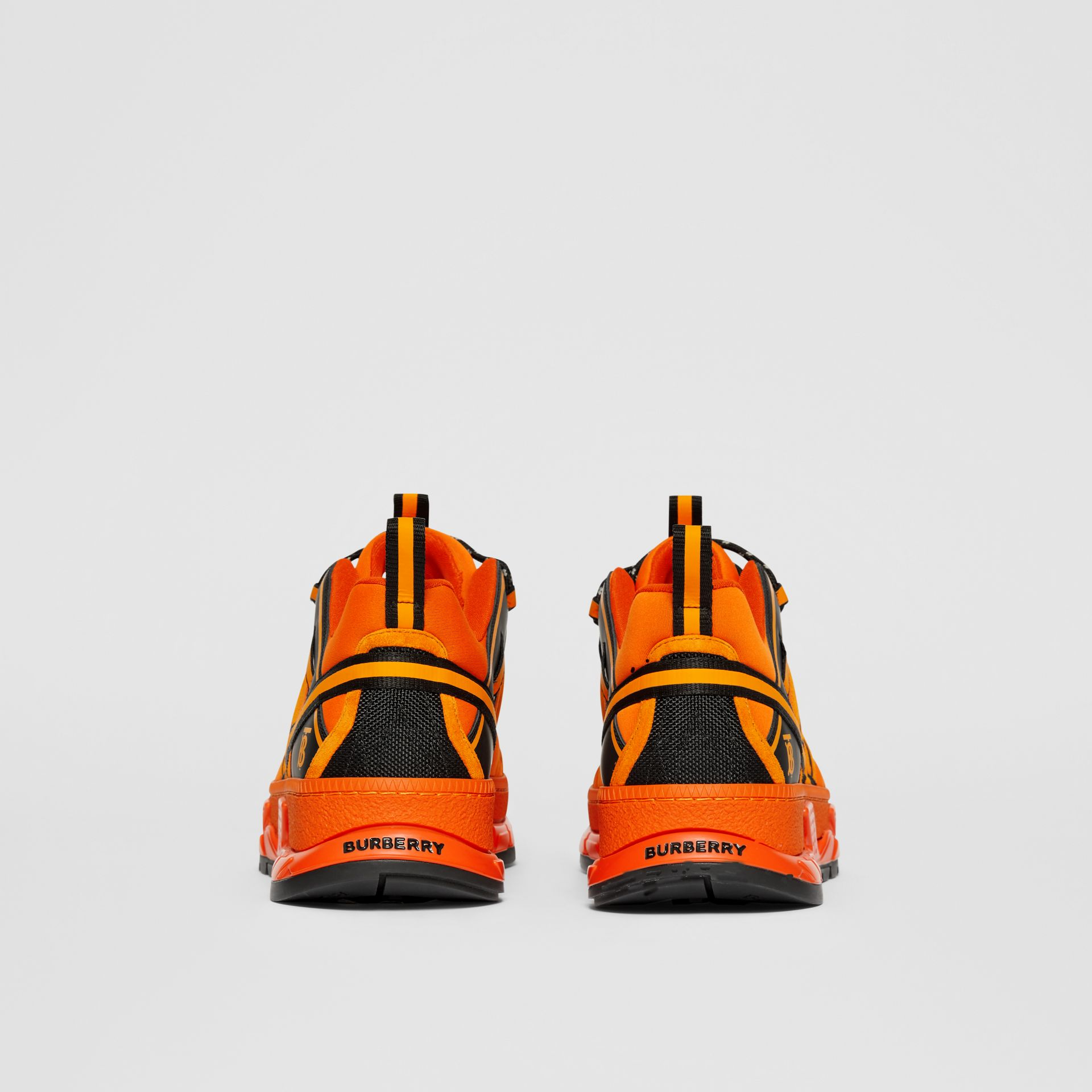 Nylon, Suede and Leather Union Sneakers in Bright Orange - Men | Burberry United Kingdom - gallery image 3