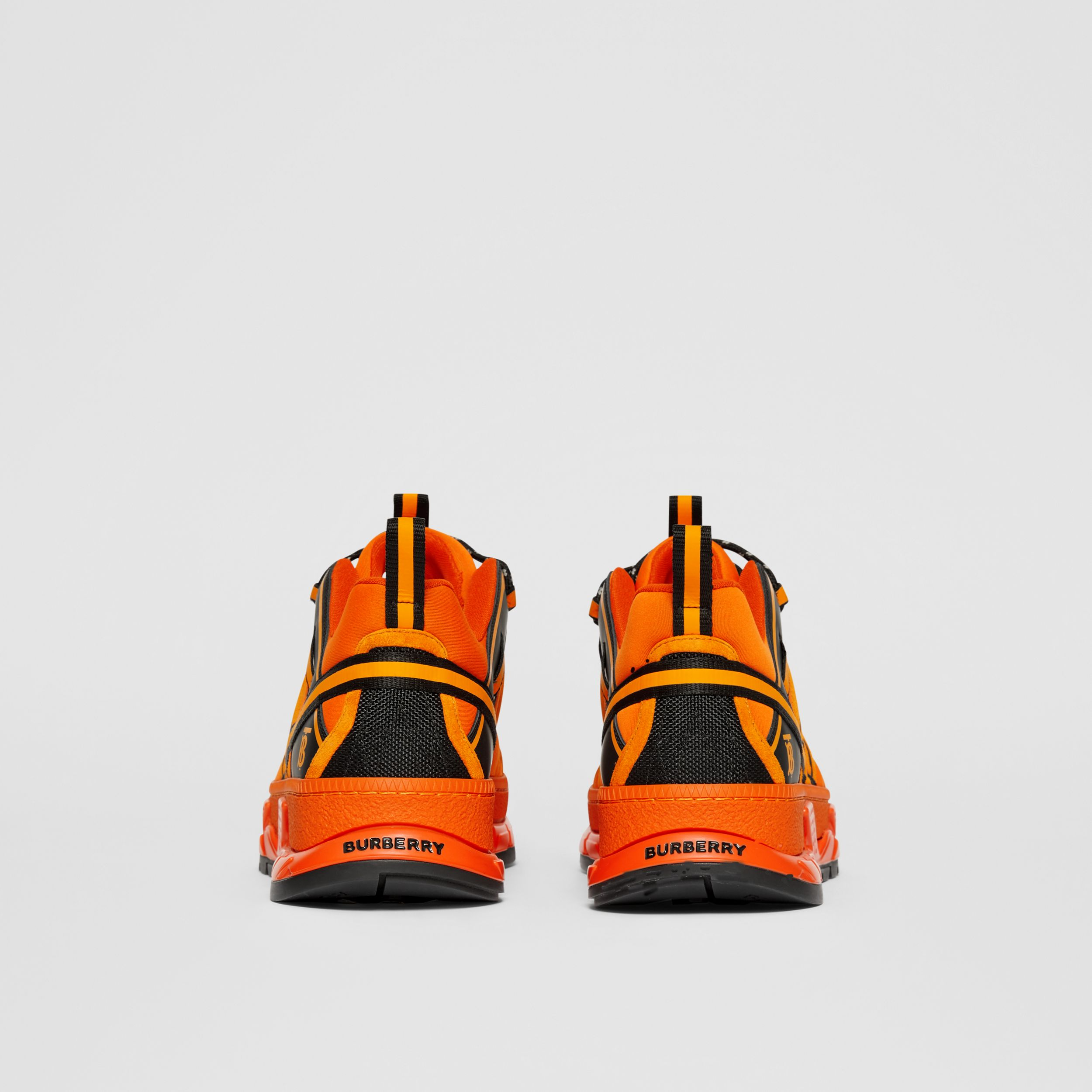 Sneakers Union en nylon, cuir velours et cuir (Orange Vif) - Homme | Burberry Canada - 4